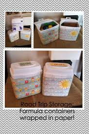 Road trip storage: formula containers wrapped in paper. Kid  OrganizationReuse RecycleDecor CraftsReuse Formula ContainersFormula Can ...