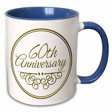 3drose 60th anniversary gift gold text for celebrating wedding anniversaries 60 years married together two tone blue mug 11 ounce walmart