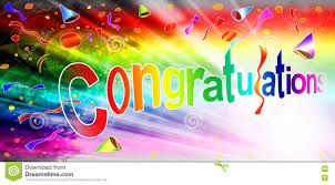 Congratulations Rainbow Beam Color Full Card Stock