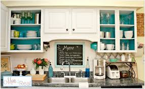 open cabinets with white aqua lime green silver accents mom spruce kitchen openkitchencabinetsaquawhite cabinet layout makers