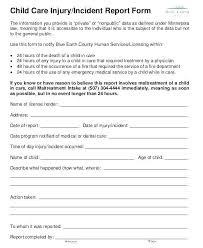 Medical Incident Report Form Template Dental General Occu