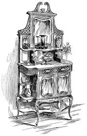 cupboard clipart black and white. victorian furniture illustration, black and white clip art, vintage kitchen clipart, sideboard cabinet cupboard clipart