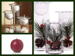 centerpiece ideas glass hurricanes candle holders filled with holiday flowers