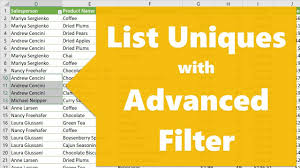 List Of Values How To List Unique Values With Advanced Filter In Excel