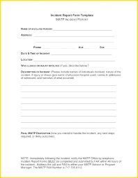 Office Incident Report Template Employee Open Medical Format