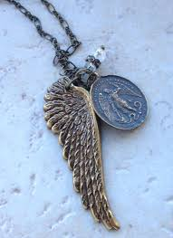 st michael necklace with angel wing