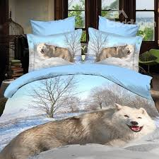 66 arctic wolf of snow print polyester 3d bedding sets