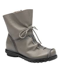 all gone grey leather combat boot women