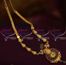 nl9985 ruby emerald handmade simple design delicate south indian jewellery set