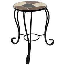 "12"" Ceramic <b>Mosaic</b> Tile <b>Side Table</b>/ <b>Plant</b> Stand - Steel Frame ..."