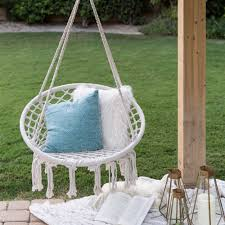 best choice s indoor outdoor hanging cotton macrame rope hammock lounge swing chair w