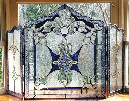 stained glass fireplace screen craftsman fireplace screen mission stained glass