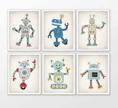 cute robot nursery prints set of 6 robot art by quantumprints on robot nursery wall art with cute robot nursery prints set of 6 robot art baby boy shower