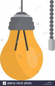 Hanging Lamp With Light Bulb With Chain Stock Vector Art