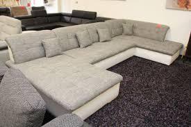 Wohnlandschaft Couch Sofa Grau Weiß U Form