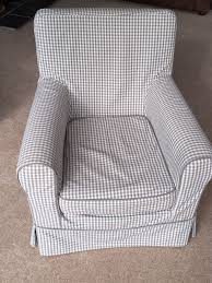 ikea rp jennylund fabric armchair in grey gingham plus spare alternative design cover