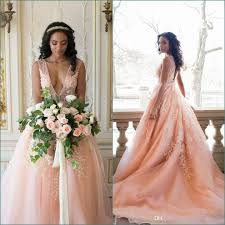 discount elegant country blush wedding dresses 2017 deep v neck