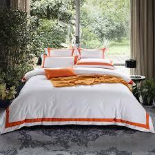 arnigu orange stripe 100 queen king super king size hotel bedding set flat fied sheet duvet cover pillow cases purple duvet cover zebra bedding from