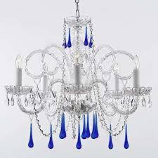empress 5 light crystal chandelier with blue crystal