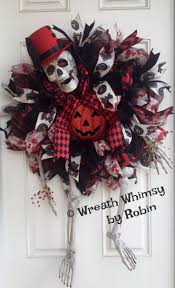 XL Skeleton Deco Mesh Wreath in Red & Black, Halloween Wreath, Skeleton  Decor,