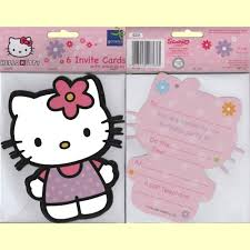 hello kitty photo invitations hello kitty invitations and envelopes in packs of 6 party wizard