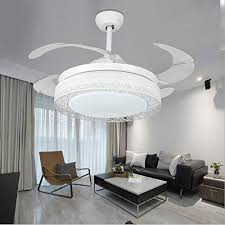 42 inch ceiling fans 4 retractable blades led ceiling fan three color change crystal chandelier with remote control black white white ceiling fans