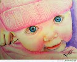 pencil colors painting of cute baby