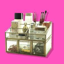 makeup organizer on pink background