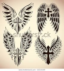 Stock Vektor Vector Set Cross Wings Tattoo Elements Bez