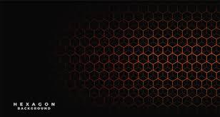 Black Background With Orange Hexagonal Pattern Vector Free