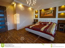 Master Bedroom Interior Master Bedroom Interior With Spotlights Stock Images Image 27110684