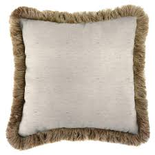 jordan manufacturing sunbrella frequency parchment square outdoor throw pillow with heather beige fringe