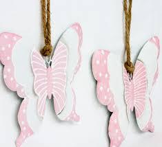2x Deko Figur Anhänger Schmetterling Zum Hängen Aus Metall Weiß Rosa