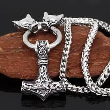 image is loading viking pendant necklace snless steel odin wolf head
