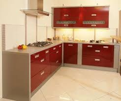 Chic Style For Kitchen Cabinet Design With Grey And Red Tones On Creamy  Walls And Marble Countertop