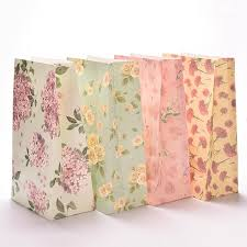 3pcs flower print kraft paper small gift bags sandwich bread food bags party wedding favour supplies 23x13cm in gift bags wrapping supplies from home