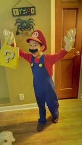 Drewu0027s Homemade Mario Costume This Year (not Counting The Hat And Gloves).  He Loved The Treat Bag!