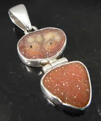 handmade agate druzy and sterling silver pendant