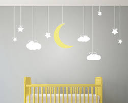 190x78cm hanging stars and moon clouds wall art stickers removable wall stickers for kids room nursery baby wall art mural d856 in wall stickers from home  on yellow and grey wall art nursery with 190x78cm hanging stars and moon clouds wall art stickers removable