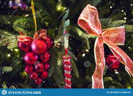 Close Up Of Christmas Tree With Ornaments Of Baubles