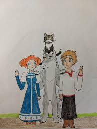 Ivan, Wolf, Vasilisa, and the Cat: Smile! by Subarufoxboy on DeviantArt