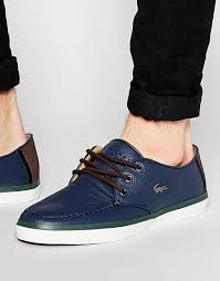 lacoste men leather navy sevrin shoes