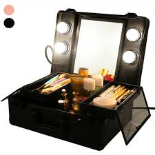 leather nylon rolling makeup trolley artist train case cosmetic box bag w drawer
