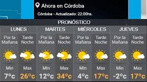 El pronóstico para mañana dice que habrá lluvias.according to tomorrow's forecast, it's going to rain. Servicio Meteorologico Nacional Pronostico Extendido Online