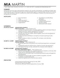 Sample Resume Of Admin Executive Store Administrative Assistant