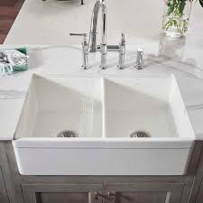 explore 33 x 20 double basin farmhouse kitchen sink