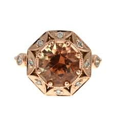 ringsgemstone2 40 ct oregon sunstone in rose gold with scalloped diamond halo