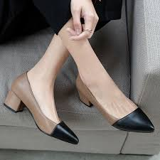 <b>BYQDY New 2020</b> Thick High Heels Shoes Women Pumps Pointed ...