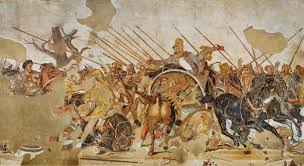 alexander the great and darius iii of persia at the battle of gaugamela roman mosaic from c 100 bc of the house of the faun in pompeii