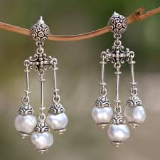 sterling silver with cultured pearls chandelier earrings transcendent moons handcrafted jewelry